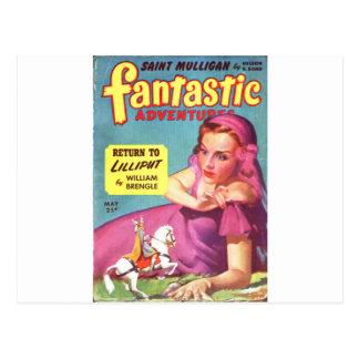 Giantess in a lavender  Dress Postcard