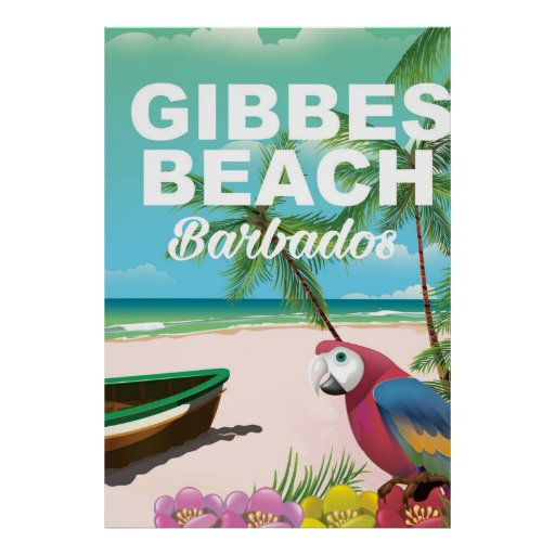 Gibbes Beach Barbados vacation poster