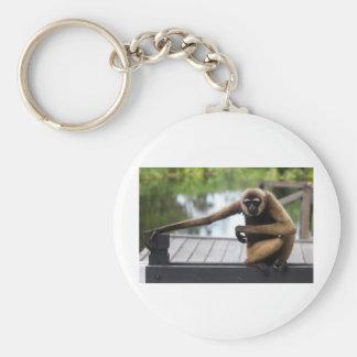 Gibbon Basic Round Button Keychain