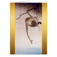 Gibbon Reaching For The Moon's Reflection Card at Zazzle