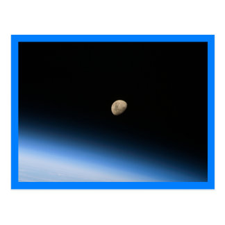 Gibbous Moon from Orbit Blue Border Postcard