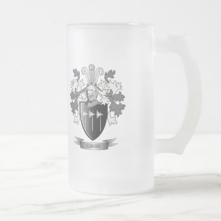 Gibbs Family Crest Coat of Arms Frosted Glass Beer Mug