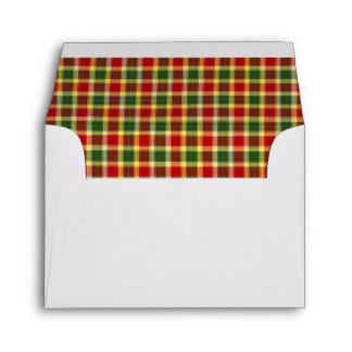 Gibbs Family Tartan Bright Red and Yellow Plaid Envelope