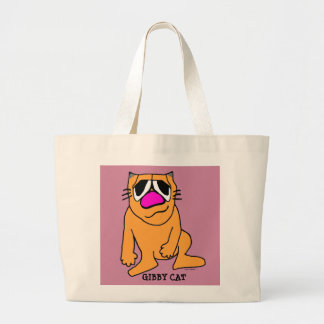 GIBBY CAT Sitting, Tote, funny Large Tote Bag