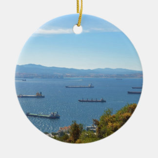 Gibraltar Anchorage From Above Ceramic Ornament