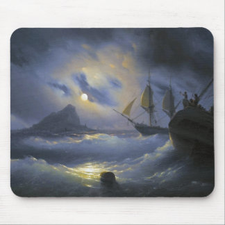 Gibraltar by Night Ivan Aivasovsky seascape waters Mouse Pad