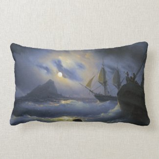 Gibraltar by Night Ivan Aivasovsky seascape waters Pillow