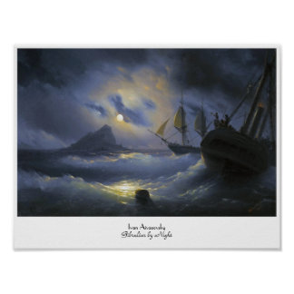 Gibraltar by Night Ivan Aivasovsky seascape waters Poster