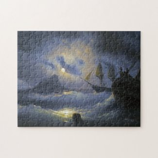 Gibraltar by Night Ivan Aivasovsky seascape waters Puzzle