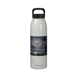 Gibraltar by Night Ivan Aivasovsky seascape waters Drinking Bottle