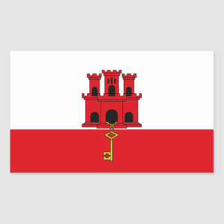 Gibraltar Flag. Britain, British Overseas Rectangular Sticker