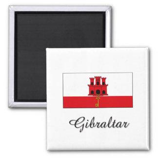Gibraltar Flag Design 2 Inch Square Magnet