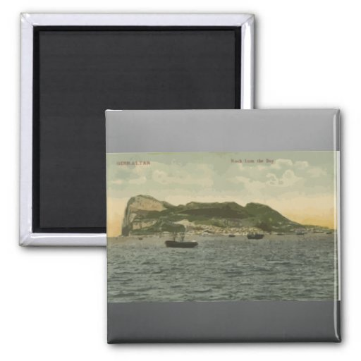 Gibraltar Rock From The Bay, Vintage 2 Inch Square Magnet