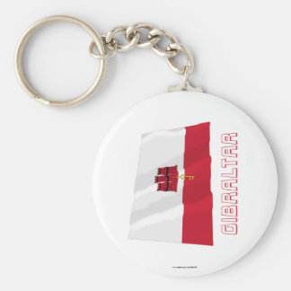 Gibraltar Waving Flag with Name Keychain