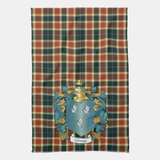 Gibson Coat of Arms and Modern Tartan Kitchen Towel