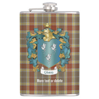 Gibson Family Crest and Tartan Plaid Hip Flask