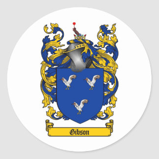 GIBSON FAMILY CREST -  GIBSON COAT OF ARMS CLASSIC ROUND STICKER
