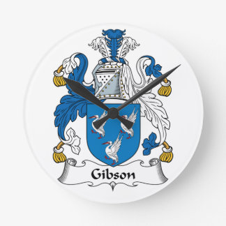 Gibson Family Crest Round Wall Clocks