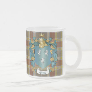 Gibson Family Crest & Tartan (English) Frosted Glass Coffee Mug