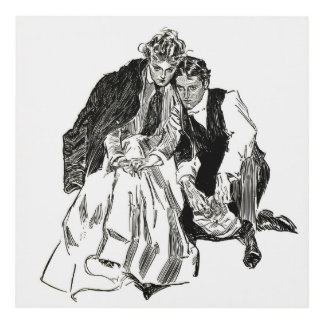 """Gibson Girl and Suitor, """"End of Summer"""" Wall Panel"""