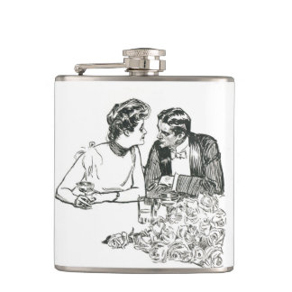 Gibson Girl at a White Tie Dinner Flask