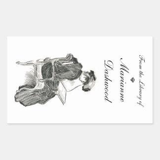 Gibson Girl Book Lover Bookplate Rectangular Sticker