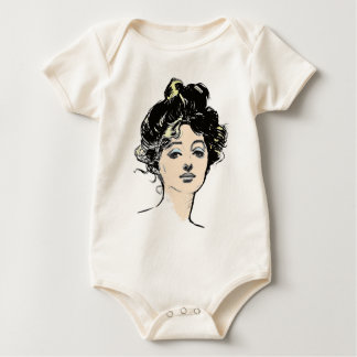 Gibson Girl Head Designs Baby Bodysuit