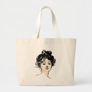 Gibson Girl Head Designs Canvas Bags