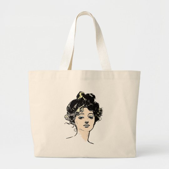 Gibson Girl Head Designs Large Tote Bag
