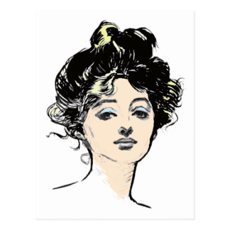 Gibson Girl Head Designs Postcard