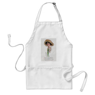 Gibson Girl in Hat and Green Tie Adult Apron