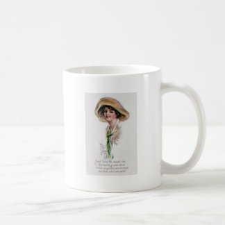 Gibson Girl in Hat and Green Tie Coffee Mug
