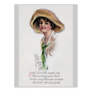 Gibson Girl in Hat and Green Tie Postcard