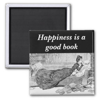 Gibson Girl Reading a Book 2 Inch Square Magnet