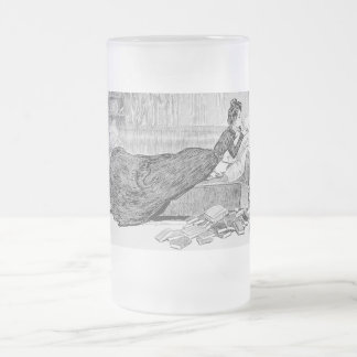 Gibson Girl Reading a Book Frosted Glass Beer Mug