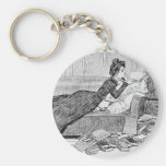 Gibson Girl Reading a Book Basic Round Button Keychain