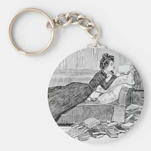 Gibson Girl Reading a Book Keychains