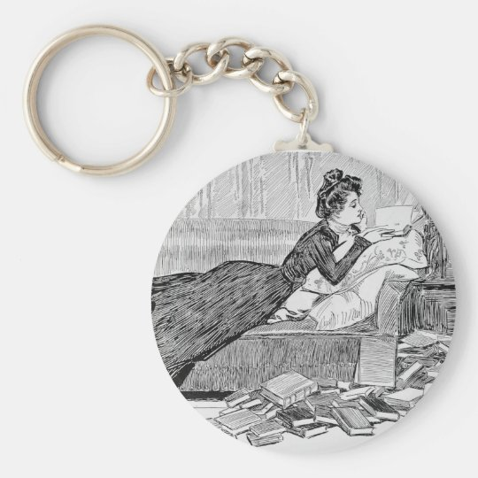 Gibson Girl Reading a Book Keychain