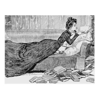 Gibson Girl Reading a Book Postcard