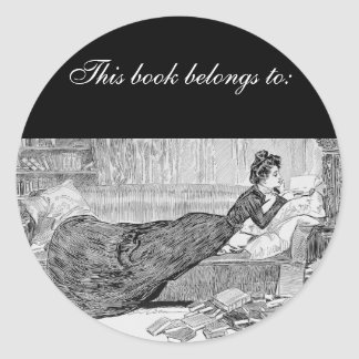Gibson Girl Reading a Book Classic Round Sticker