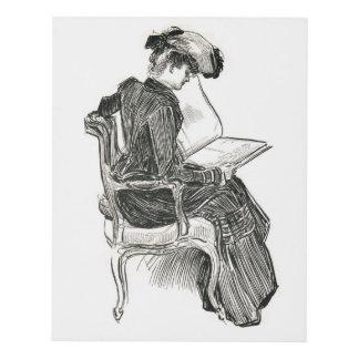 Gibson Girl Reading a Gibson Girl Book Panel Wall Art