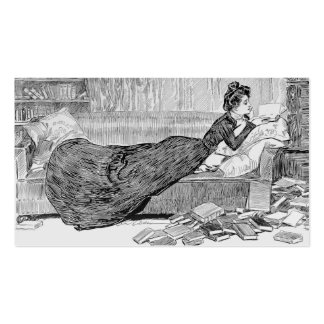 Gibson Girl Reading Business Card