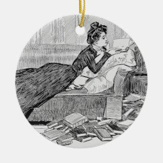 Gibson Girl Reading Ceramic Ornament