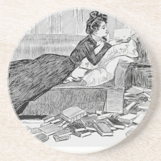 Gibson Girl Reading Beverage Coasters