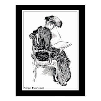 Gibson Girl Reading Postcard