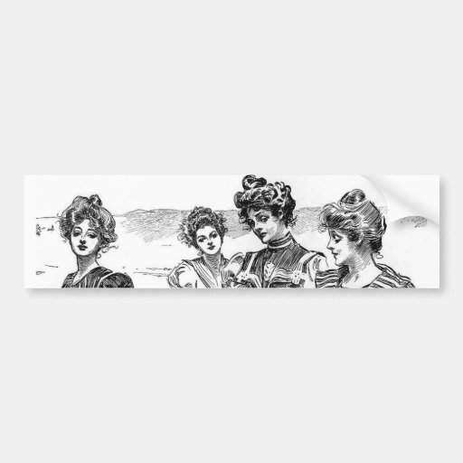 Gibson Girls at the Beach Bumper Stickers