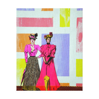Gibson Girls in a Mondrian Pattern Stretched Canvas Print