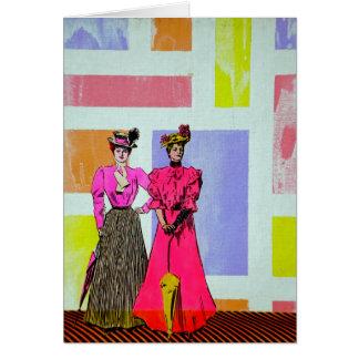 Gibson Girls in a Mondrian Pattern Card
