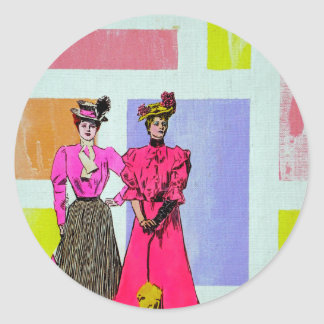 Gibson Girls in a Mondrian Pattern Classic Round Sticker