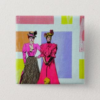 Gibson Girls in a Mondrian Pattern Pinback Button
